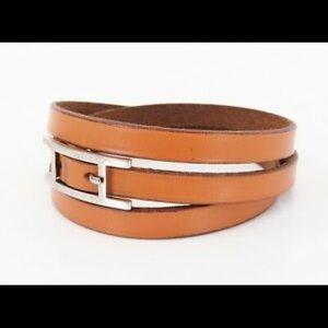 Hermès Hapi Doubletour Brown Leather Bracelet